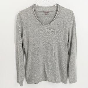 J. Jill Grey Cotton Blend V-Neck Pullover Sweater